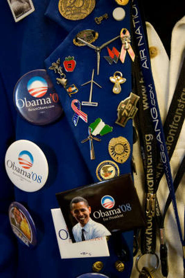 Political swagWhat started as a giveaway button for Abraham Lincoln's 1860 campaign for president has turned into big business. Now, candidates for office will sell almost anything - buttons, shirts, condoms and cookware. Photo: Nick De La Torre, Chronicle