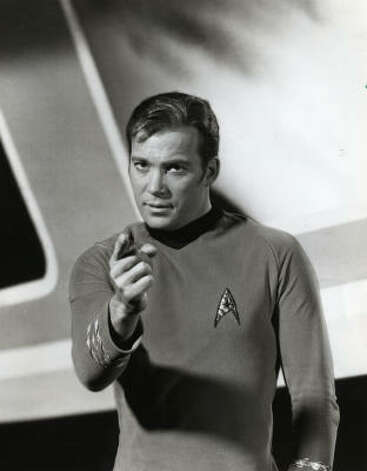 William Shatner gets to the point as Captain Kirk in Star Trek.