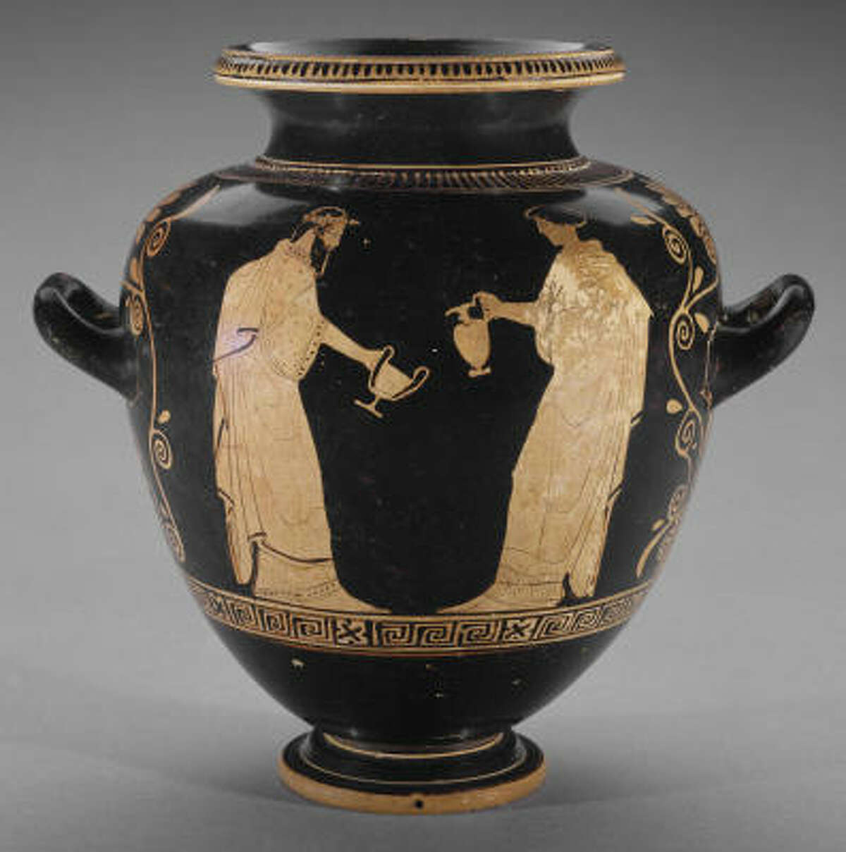 This stamnos -- a Greek wine jar -- is 2,500 years old. The rest of its history is hard to pin down.