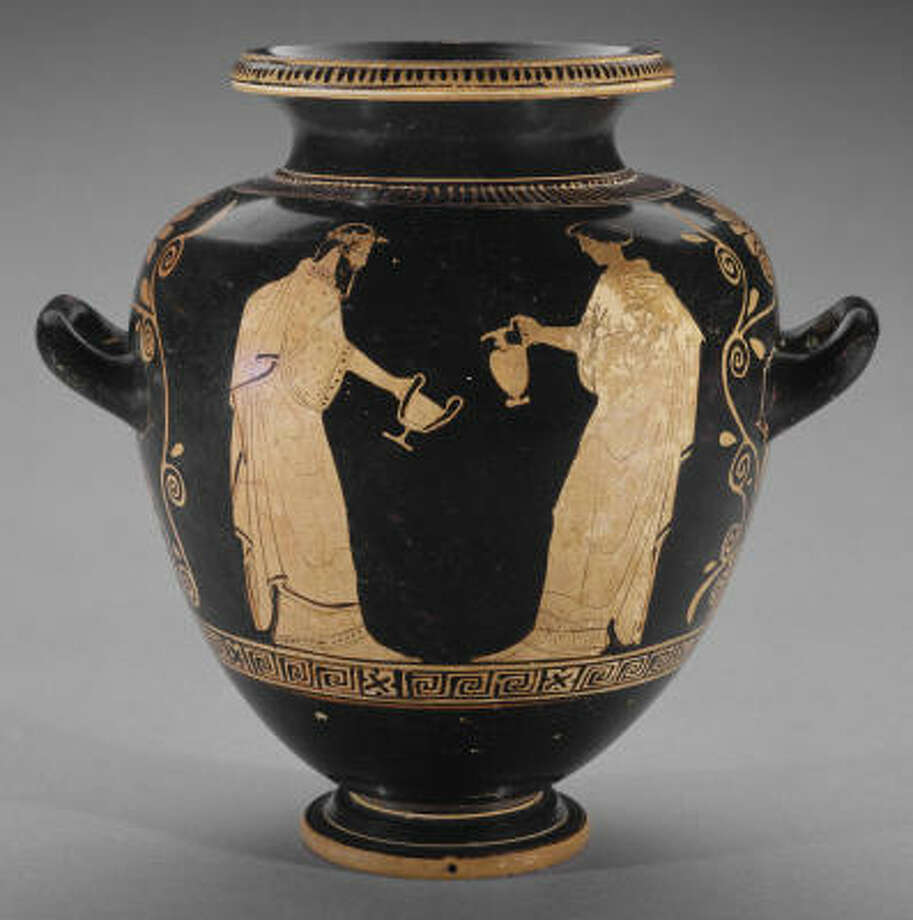 This stamnos -- a Greek wine jar -- is 2,500 years old. The rest of its history is hard to pin down. Photo: MFAH