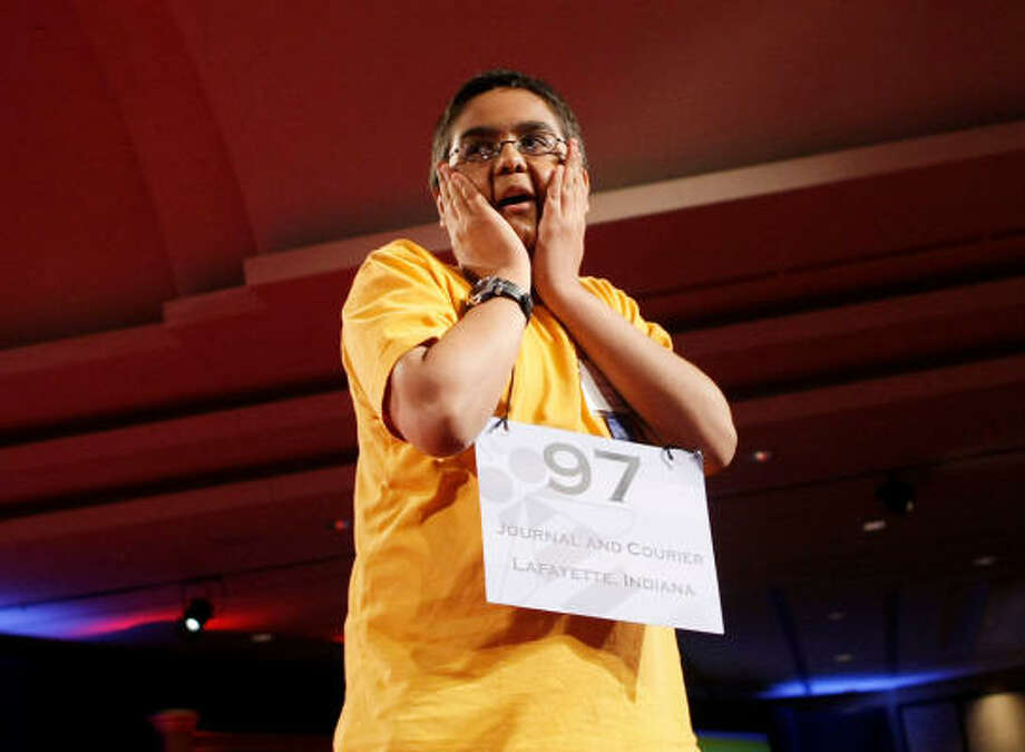 """Sameer Mishra, from West Lafayette, Ind., reacts to spelling his word to win the 2008 Scripps National Spelling Bee. The 13-year-old aced """"guerdon"""" to win bee. He will receive $35,000 in cash plus more than $5,000 in other prizes. Photo: Pablo Martinez Monsivais, AP"""