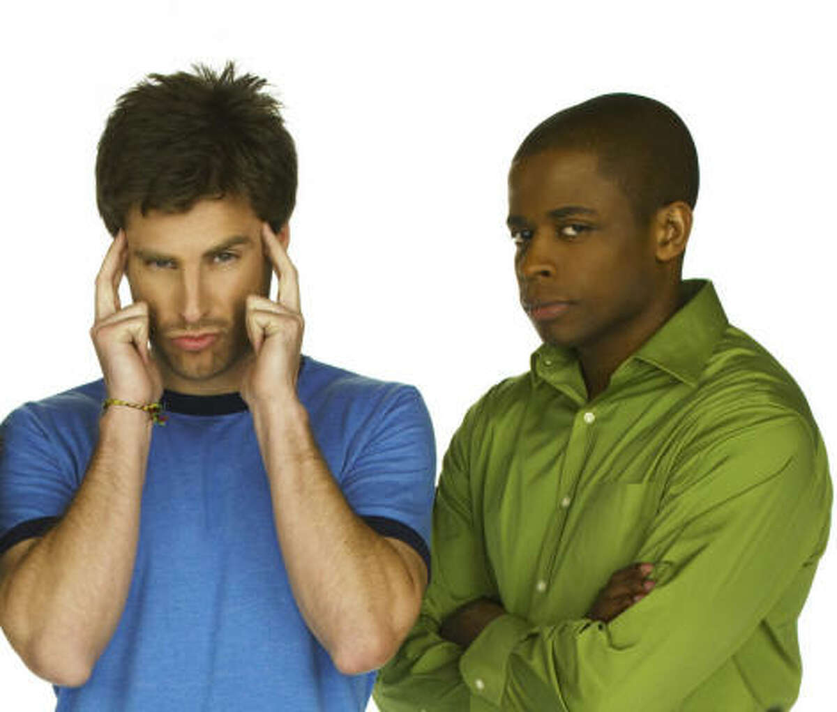 Shawn (James Roday, center) has extraordinary recall powers, which and bet friend Gus (Dule Hill, right) put to good use at their detective agency in the new USA Network series Psych.