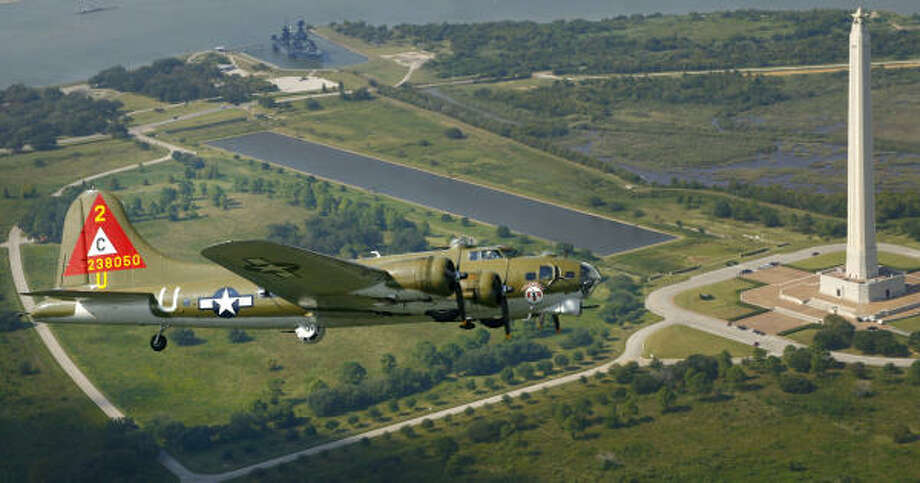 You don't need a World War II vintage B-17 Flying Fortress bomber to enjoy the San Jacinto Monument and the Battleship Texas. Photo: Steve Ueckert, Chronicle