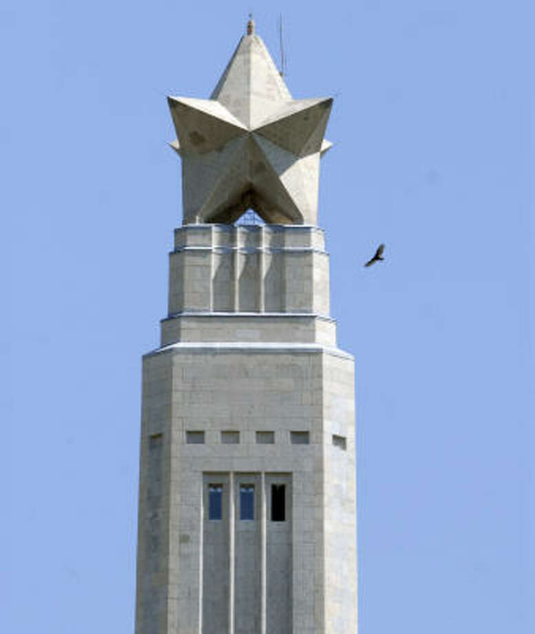That might be a funky looking star on top of the San Jacinto Monument, but even the bird of prey circling it knows not to mess with it. Photo: Carlos Javier Sanchez, For The Chronicle