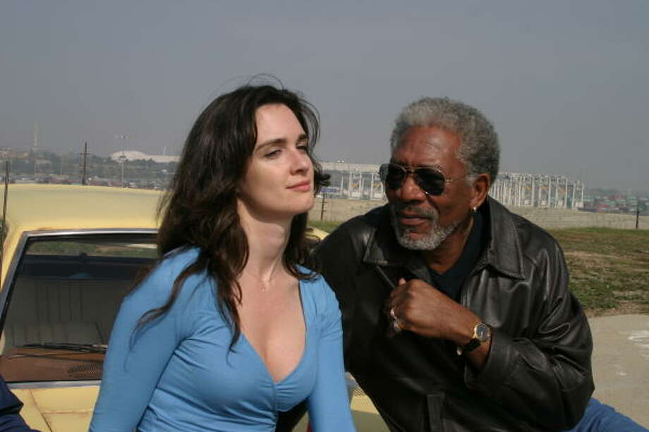 An actor (Morgan Freeman) and a clerk (Paz Vega) get to see life from a different perspective, in 10 Items or Less. Photo: ThinkFilm