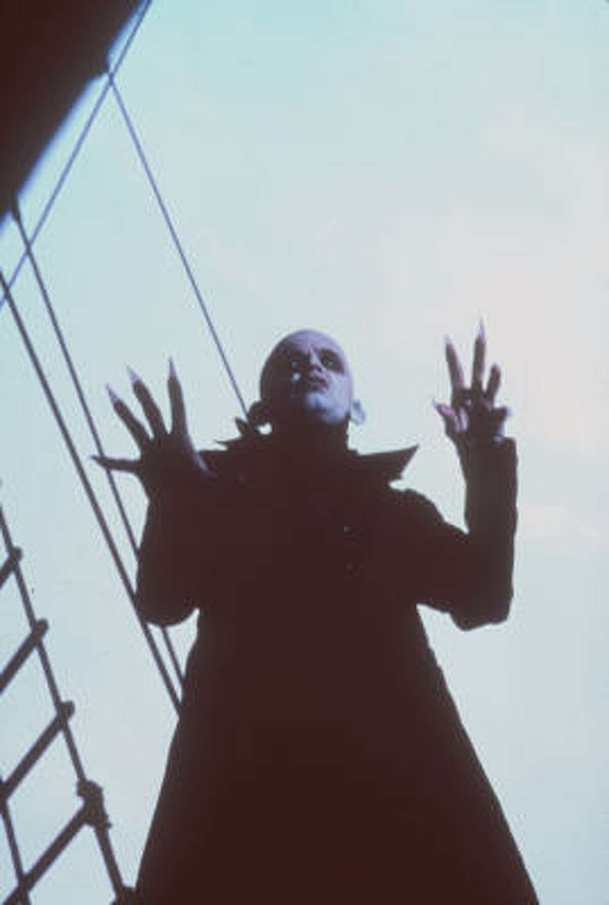 Klaus Kinski played Count Dracula with a nod to silent film star Max Schreck's Count Orlok in Nosferatu: The Vampyre (1979).