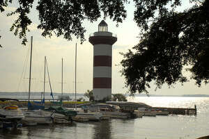 The lighthouse at Harbour Town on Lake Conroe is a landmark for boaters using the lake. The lighthouse marks the entrance into the Harbour Town Marina.
