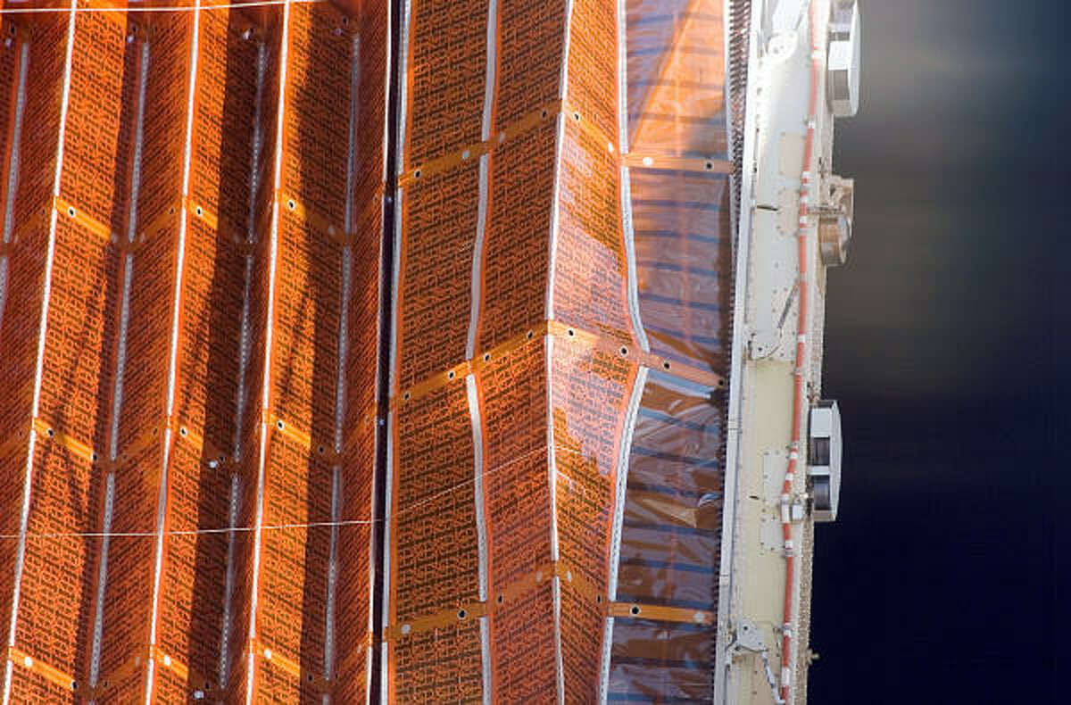 A NASA image shows a kink in a solar panel during the first of nearly 50 attempts to retract it Wednesday.