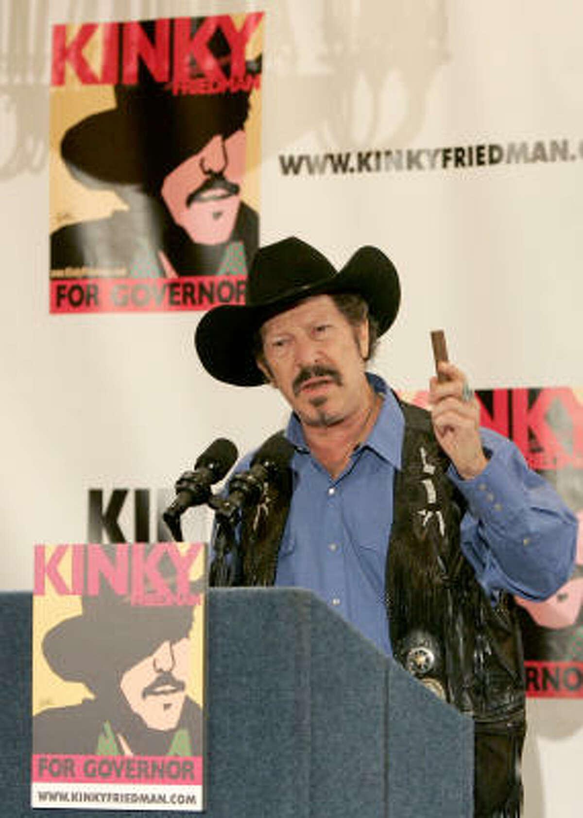 Independent gubernatorial candidate Kinky Friedman speaks during a Houston news conference.