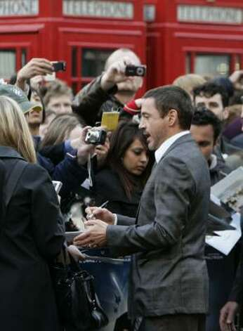 London: Robert Downey Jr. Photo: ALASTAIR GRANT, AP
