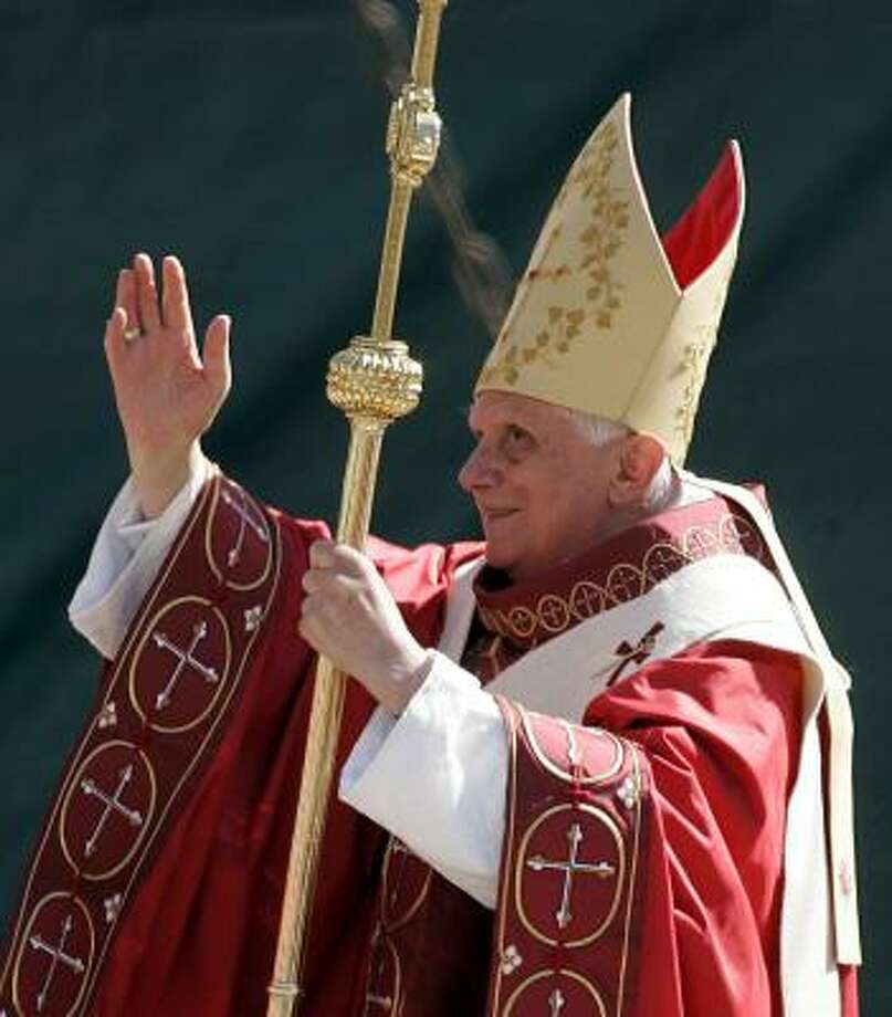 Pope Benedict XVI celebrates Mass on Thursday   at Washington Nationals baseball Park in Washington. Photo: Susan Walsh, AP