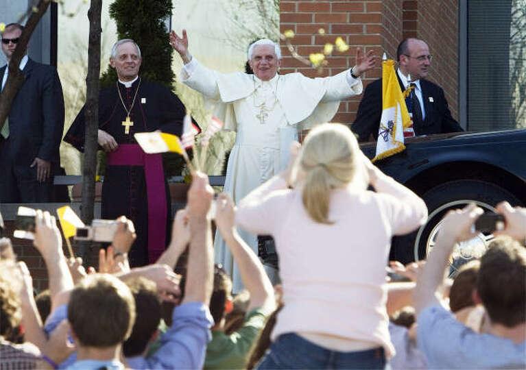 Pope Benedict XVI arrives at the Edward J. Pryzbyla University Center at Catholic University in Wash