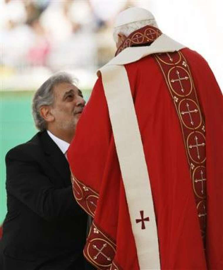 Pope Benedict XVI reacts to the crowd at the conclusion of a Papal Mass Thursday at Washington Nationals Park in Washington. Photo: Gerald Herbert, AP