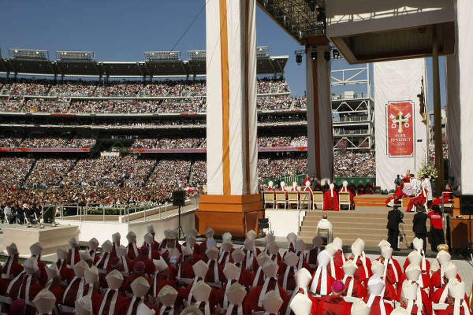 Pope Benedict XVI conducts a Papal Mass on Thursday at Washington Nationals baseball Park in Washington. Photo: Gerald Herbert, AP