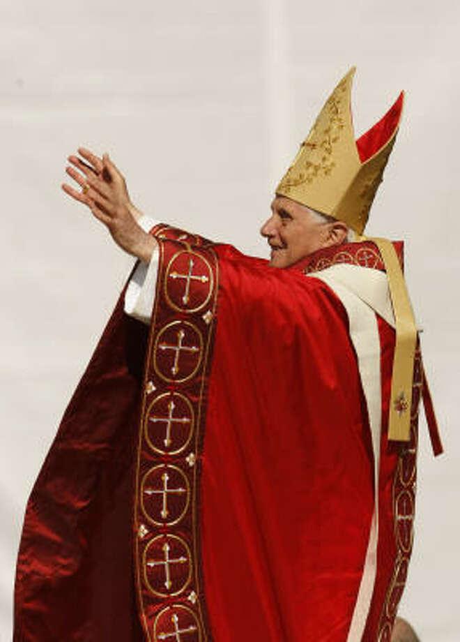 Pope Benedict XVI conducts a Papal Mass on  Thursday at Washington Nationals baseball Park in Washington. Photo: Gerald Herbert, AP