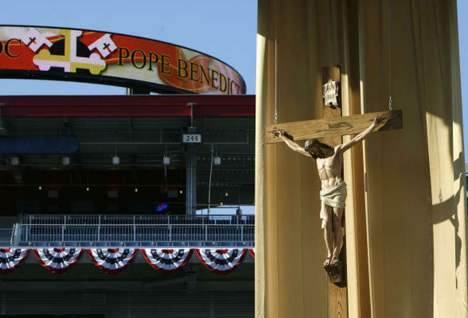 Nationals Park baseball stadium is ready for the pope's April 17 morning Mass in Washington. Photo: Jacquelyn Martin, AP
