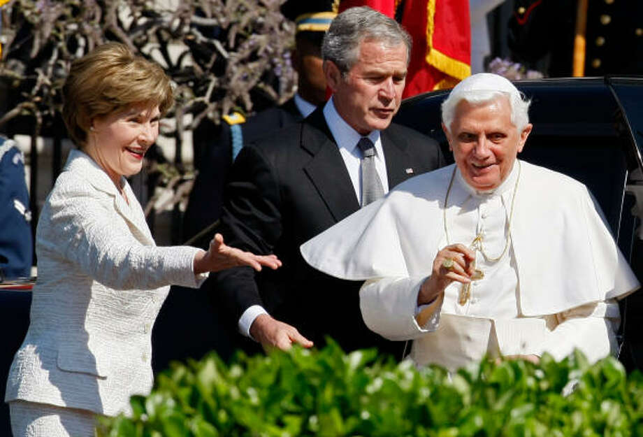 Pope Benedict XVI is welcomed Wednesday by U.S. President George W. Bush and First Lady Laura Bush during an arrival ceremony on the South Lawn at the White House in Washington, DC. Today is the second day of the Pope's visit to the United States he is scheduled to be in New York City on Friday. Photo: Mark Wilson, Getty Images
