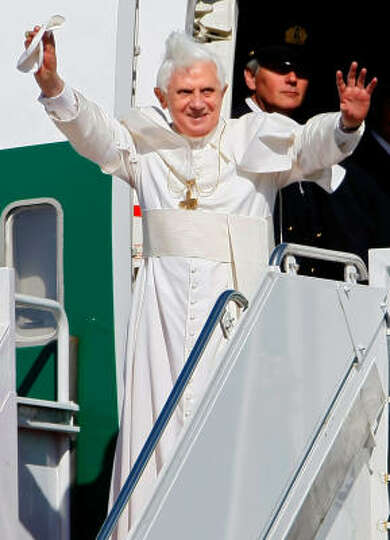 Pope Benedict XVI waves as he arrives in the United States on Tuesday. Pope Benedict will spend 3 da