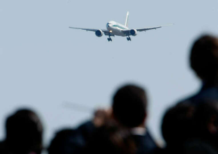 The airplane carrying Pope Benedict XVI approaches the runway at Andrews Air Force Base, Maryland, o