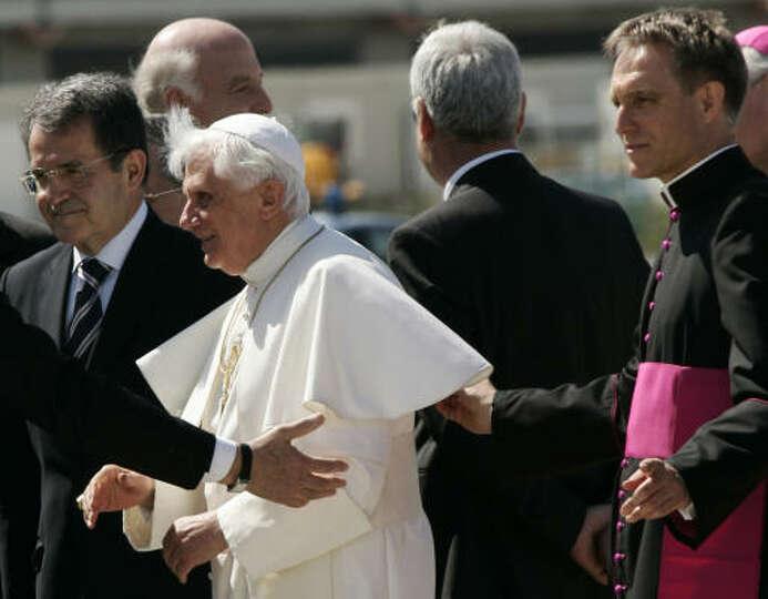 Monsignor Georg Gaenswein, right, Pope Benedict XVI, center, and former Italian Permier Romano Prodi