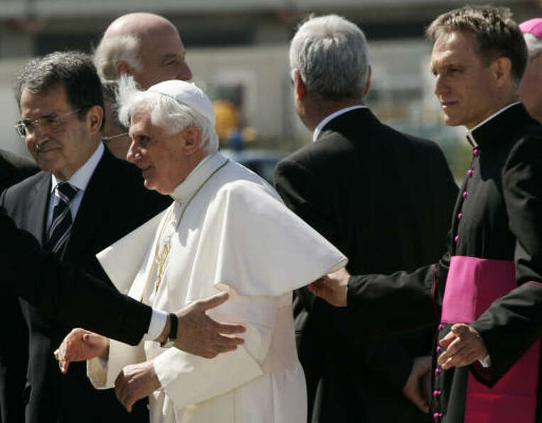 Monsignor Georg Gaenswein, right, Pope Benedict XVI, center, and former Italian Permier Romano Prodi