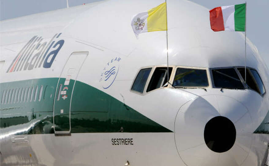 The Alitalia plane, with Pope Benedict XVI onboard, is about to leave Fiumicino Airport, south-west