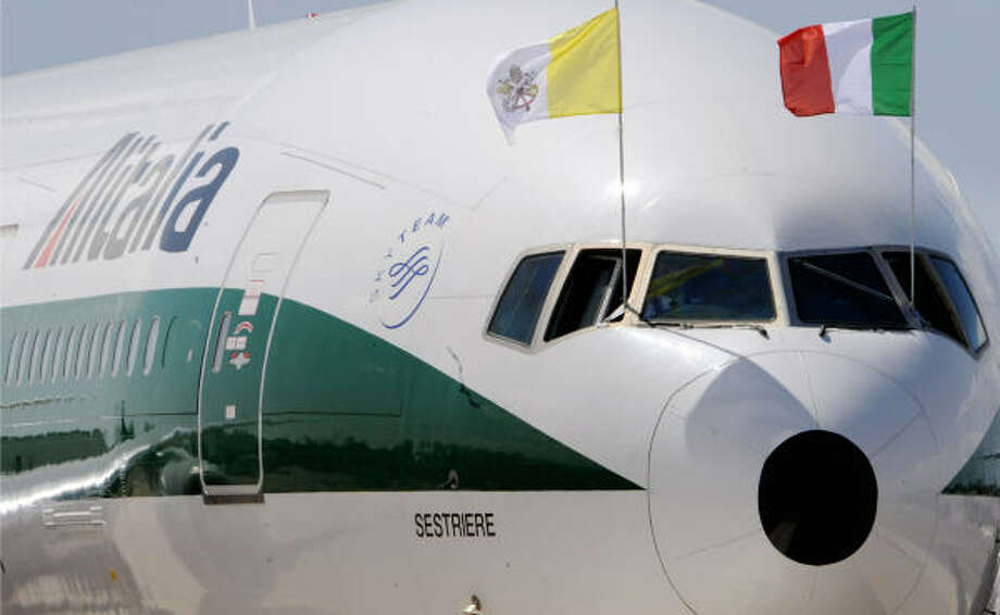 The Alitalia plane, with Pope Benedict XVI onboard, is about to leave Fiumicino Airport, south-west of Rome on Tuesday. Pope Benedict XVI left Rome for his first official visit to the United States that will include an address to the general assembly of the United Nations in New York. Photo: TIZIANA FABI, AFP/Getty Images