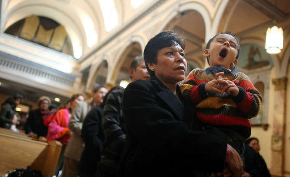 Parishioners gather on Sunday in Mary Help of Christians Church in New York City, which they hope wi