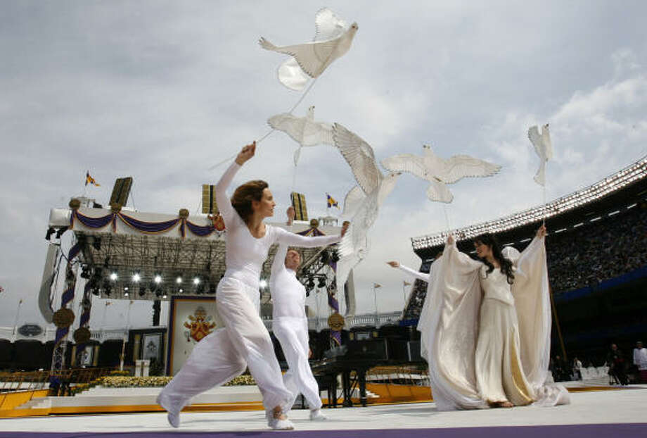 Dancers perform on Sunday before the Mass by Pope Benedict XVI at Yankee Stadium in New York. Benedict was to celebrate Mass for 55,000 people at Yankee stadium before departing the United States. Photo: MIKE SEGAR, AFP/Getty Images