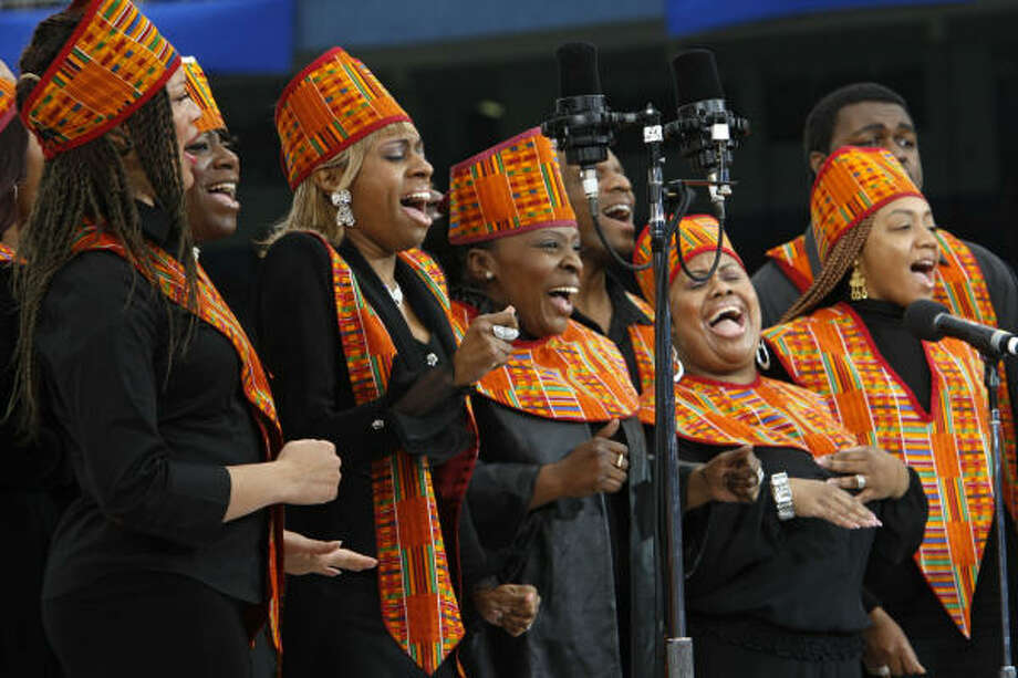 The Harlem Gospel Choir performs on Sunday prior to the Mass by Pope Benedict XVI at Yankee Stadium in New York. Photo: MIKE SEGAR, AFP/Getty Images