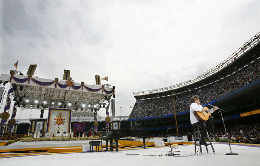 Musician Jose Feliciano performs before the Mass celebrated by Pope Benedict XVI at Yankee Stadium i