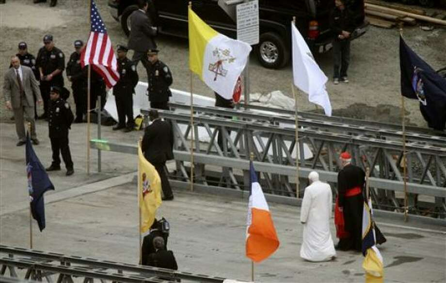 Pope Benedict XVI visits the World Trade Center site on Sunday, April 20, 2008 in New York. Photo: Mark Lennihan, AP