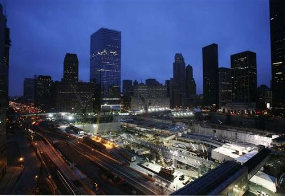 The World Trade Center site is shown early on Sunday, April 20, 2008 before the arrival of Pope Benedict XVI. Photo: Mark Lennihan, AP