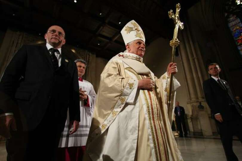 Pope Benedict XVI arrives at New York's St. Patrick's Cathedral to celebrate Mass on Saturday.
