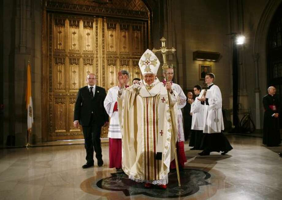 Pope Benedict XVI celebrates Mass at St. Patricks Cathedral in New York on Saturday. Photo: Shannon Stapleton, AP Pool