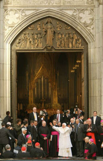 Pope Benedict XVI waves as he arrives at St. Patrick's Cathedral on Saturday in New York City.