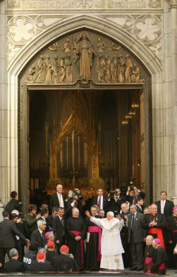 Pope Benedict XVI waves as he arrives at St. Patrick's Cathedral on Saturday in New York City. Photo: TIMOTHY A. CLARY, AFP/Getty Images
