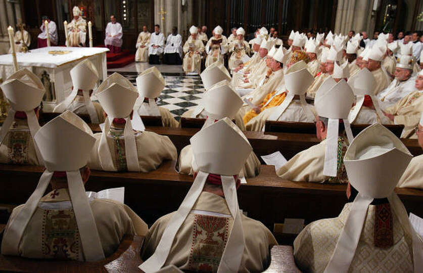 Bishops celebrate Mass with Pope Benedict XVI at St. Patrick's Cathedral on Saturday in New York.
