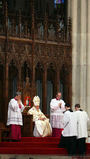 Pope Benedict XVI celebrates Mass at St. Patrick's Cathedral on Saturday in New York.