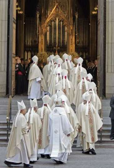 Bishops arrive to attend Mass with Pope Benedict XVI at New York's St. Patrick's Cathedral on Saturd