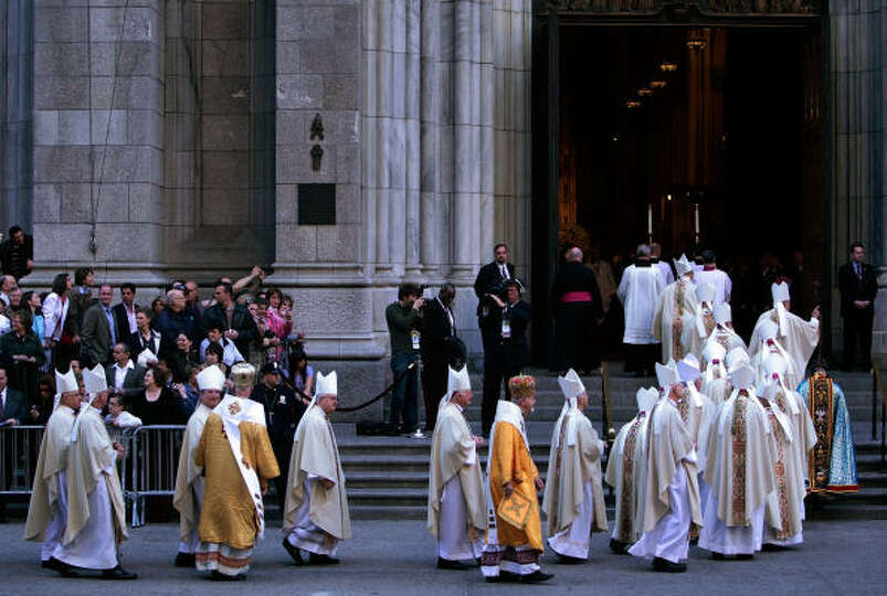 Catholic bishops file into St. Patrick's Cathedral in advance of a Mass with Pope Benedict XVI on Sa
