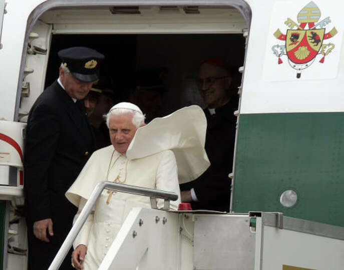 Pope Benedict XVI arrives at the Italian air force 31st Squadroon base in Ciampino, 30 kilometers so