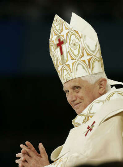 Pope Benedict XVI celebrates mass on Sunday at Yankee Stadium in New York. Benedict XVI arrived to a