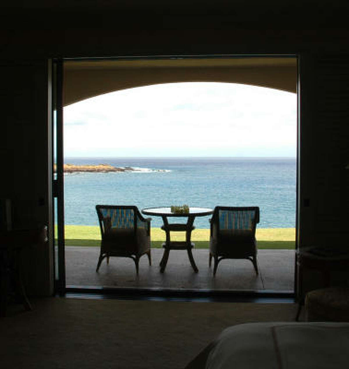 Many of the rooms at the Four Seasons Resort at Manele Bay have balconies or patios overlooking the Pacific Ocean.