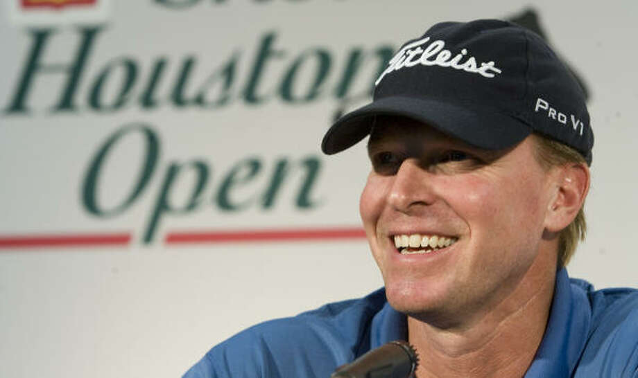 Steve Stricker laughs during a news conference following a practice round of the Shell Houston Open at Redstone Golf Club on Tuesday. Photo: Brett Coomer, Chronicle