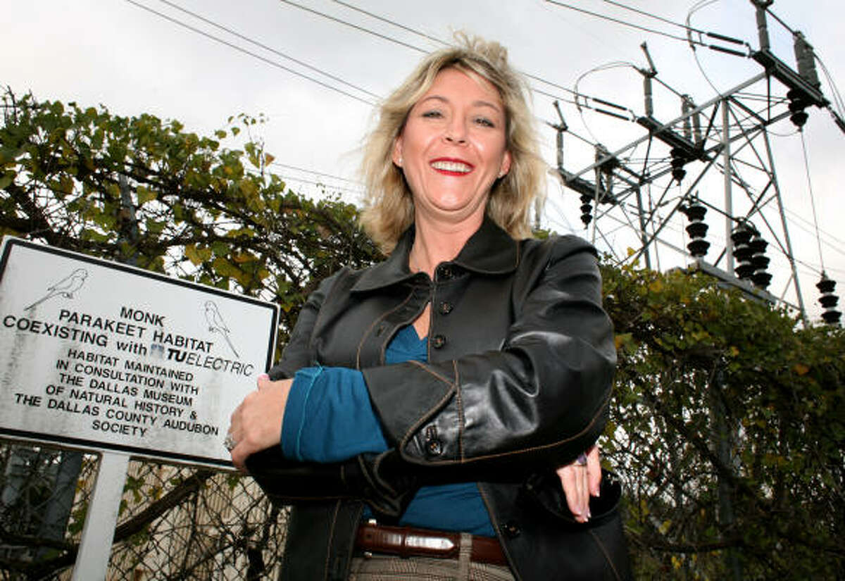 Dallas-area resident Mari Anne Mourer stands near a monk parakeet habitat on land owned by TXU Electric Delivery Co. Last year, Mourer used her SUV to block the entrance to a TXU substation when workers began to remove monk nests from a steel superstructure.