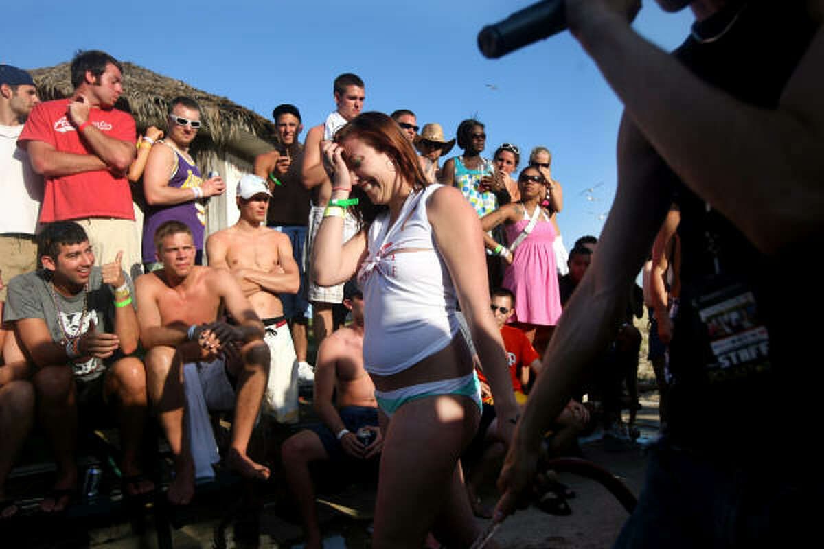 Students participate in a wet T-shirt contest at the MTV Beach Bash party put on by Global Groove at the Bahia Mar Hotel.
