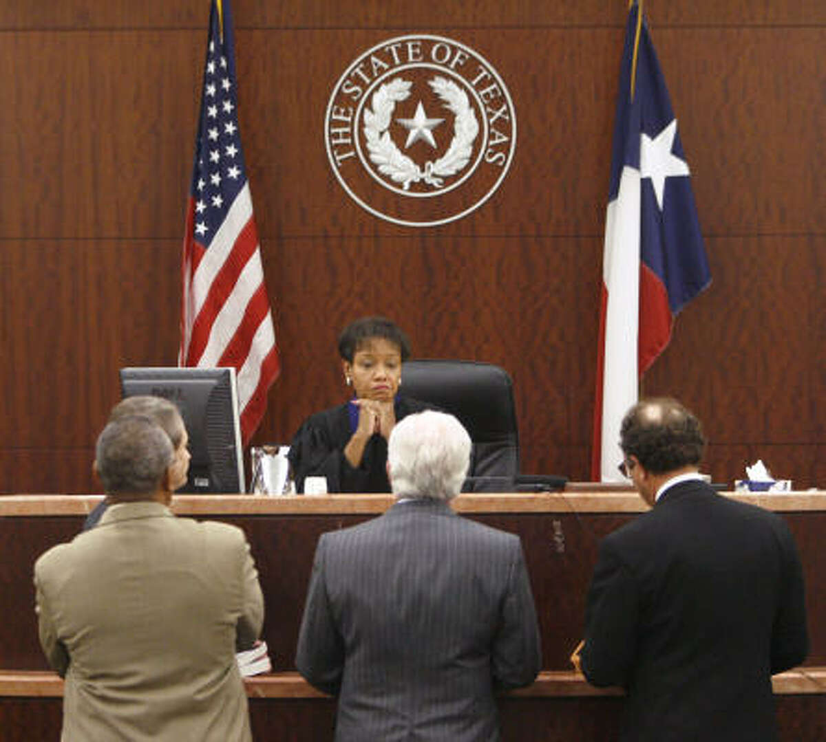 Judge Belinda Hill listens to lawyers during a hearing Thursday in Houston where she was committed to the North Texas State Hospital in Vernon, Texas.