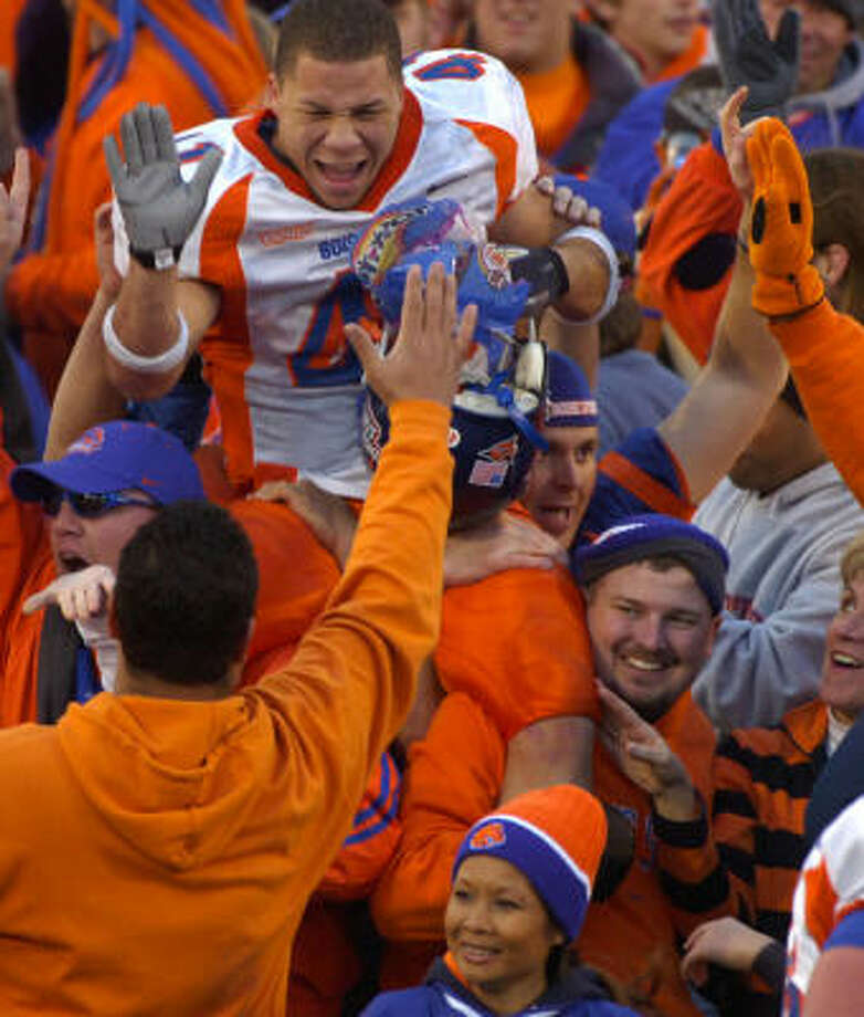Boise State and its fans will crash the BCS party. Photo: SCOTT SADY, AP
