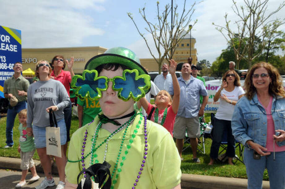 Christopher Hoelscher, 10, a fourth grader at Sampson Elementary in Cy-Fair, was decked out in his shamrock shades for the 30th annual FM 1960 St. Patrick's Day Parade. Photo: Jerry Baker, For The Chronicle